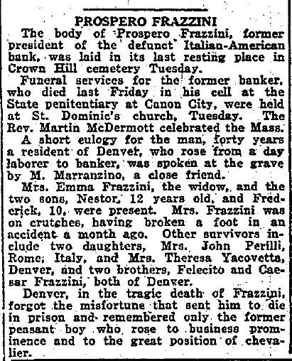 Prospero Frazzini and Family Genealogy Page
